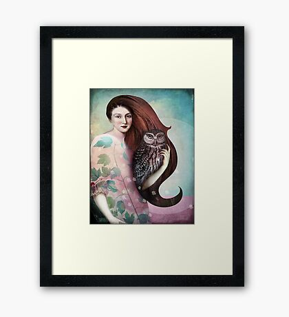 She and her Owl Framed Print
