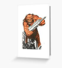 A monster destroying a city vintage comic pop art Greeting Card