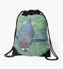 Just keep swimming. Drawstring Bag