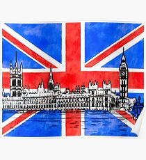 Oh So British - Union Jack Flag And Westminster Poster