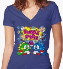 Bubble Bobble Retro Women's Fitted V-Neck T-Shirt