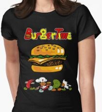 Burger Time Retro  Womens Fitted T-Shirt