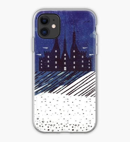 Castle on the Hill (snowy night) iPhone Case