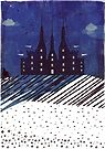 Castle on the Hill (snowy night) by Sybille Sterk