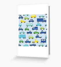 blue toy car pattern - automobile illustration Greeting Card