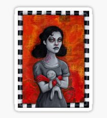 Angry Goth Girl with Voodoo Doll Sticker