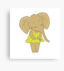 Cute elephant girl Canvas Print