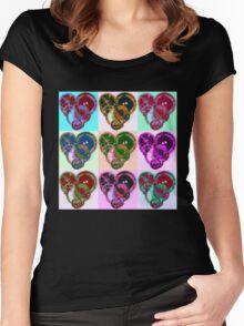 Steampunk 'Pop-Heart' Pop Art Women's Fitted Scoop T-Shirt