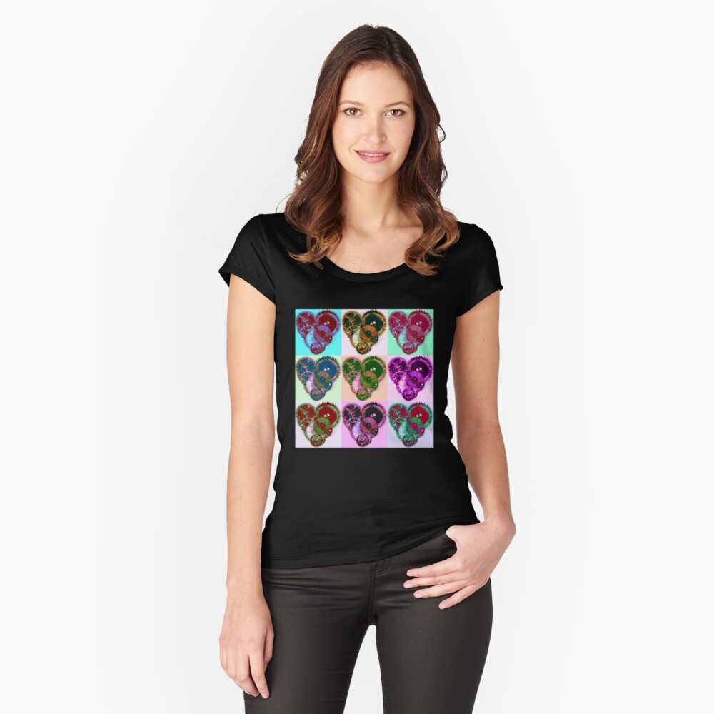 Steampunk 'Pop-Heart' Pop Art Fitted Scoop T-Shirt