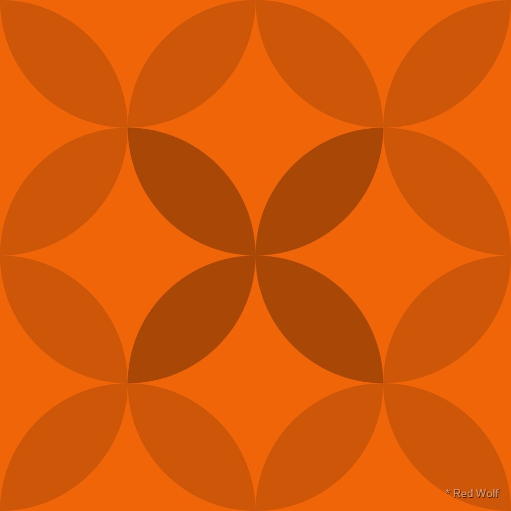 Geometric Pattern: Circle Nested: Tangerine by * Red Wolf