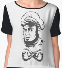 Captain with smoking pipes Women's Chiffon Top