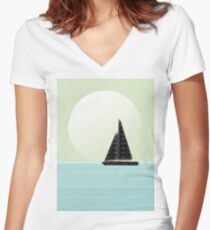 Sailboat Beach Days Women's Fitted V-Neck T-Shirt