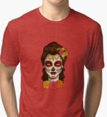 Day of the Dead Calavera Girl Tri-blend T-Shirt