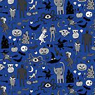 Retro Halloween - blue and grey - Halloween pattern by Cecca Designs by Cecca-Designs