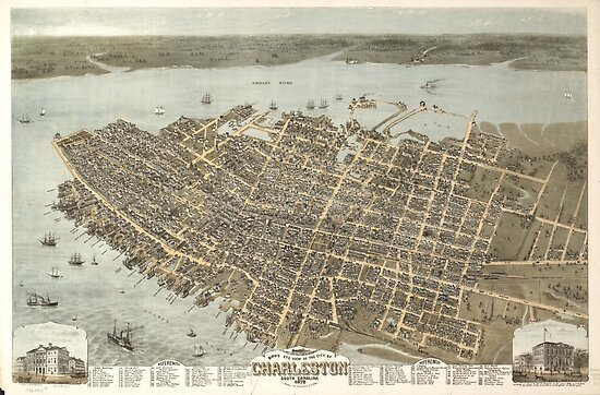 Vintage Pictorial Map of Charleston (1872) by BravuraMedia