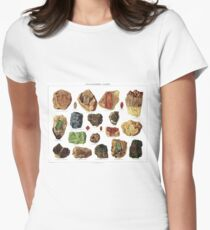 Vintage Geology Gemstone Crystal Minerals Women's Fitted T-Shirt