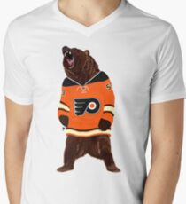 Flyers Ghost Bear Mens V-Neck T-Shirt