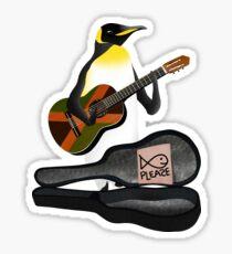 Penguin Busking Sticker