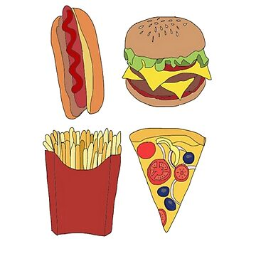 Hot dog,Cheeseburger,Fries and Pizza by melliflue