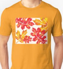 Fall Leaves Watercolor Silhouette II T-Shirt