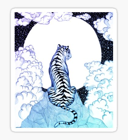 Ombre Tiger Moon Sticker