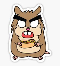 angry zombie hamster with a hotdog Sticker