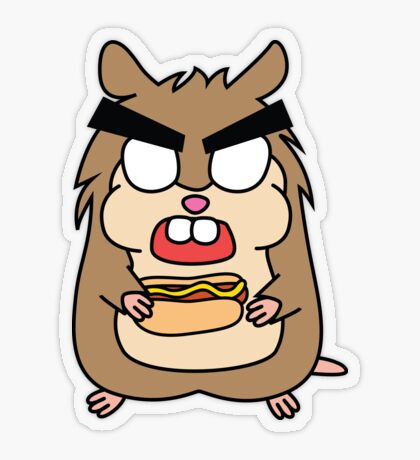 angry zombie hamster with a hotdog Transparent Sticker