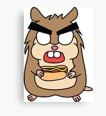 angry zombie hamster with a hotdog Canvas Print