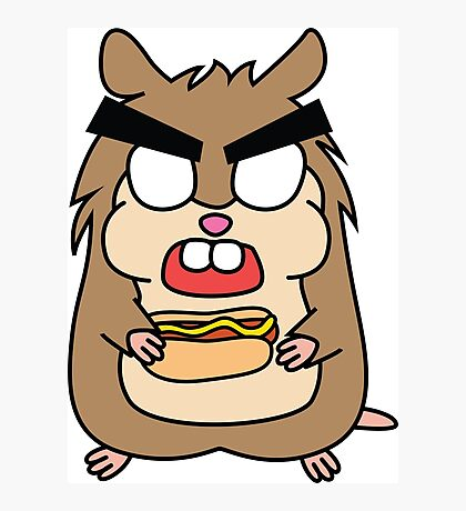 angry zombie hamster with a hotdog Photographic Print