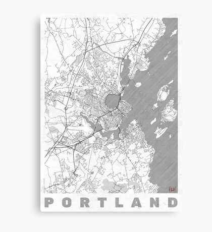 Portland Maine Map Line Canvas Print
