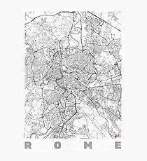 Rome Map Line Photographic Print