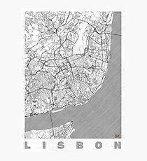Lisbon Map Line Photographic Print
