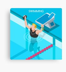 Swimming Isometric Vector Canvas Print