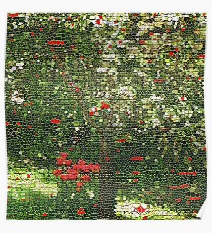 Roses By Tree Poster