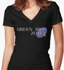 Green Hill Zone Women's Fitted V-Neck T-Shirt