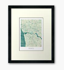 Porto Map Blue Vintage Framed Print