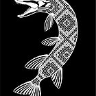 Fish Pike Finno-Ugric pattern (black-white) by croWind