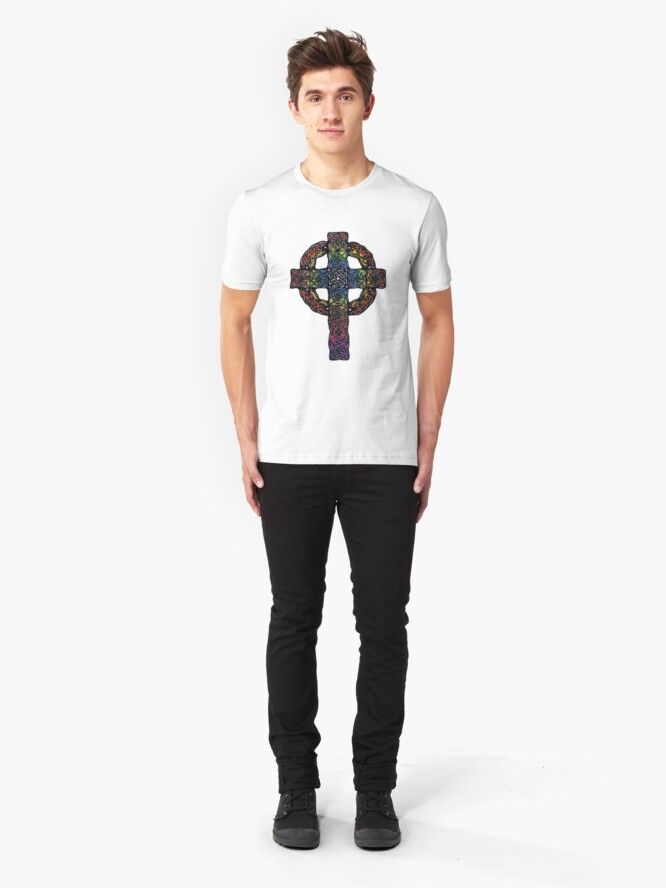 Alternate view of Rainbow Celtic Cross Slim Fit T-Shirt
