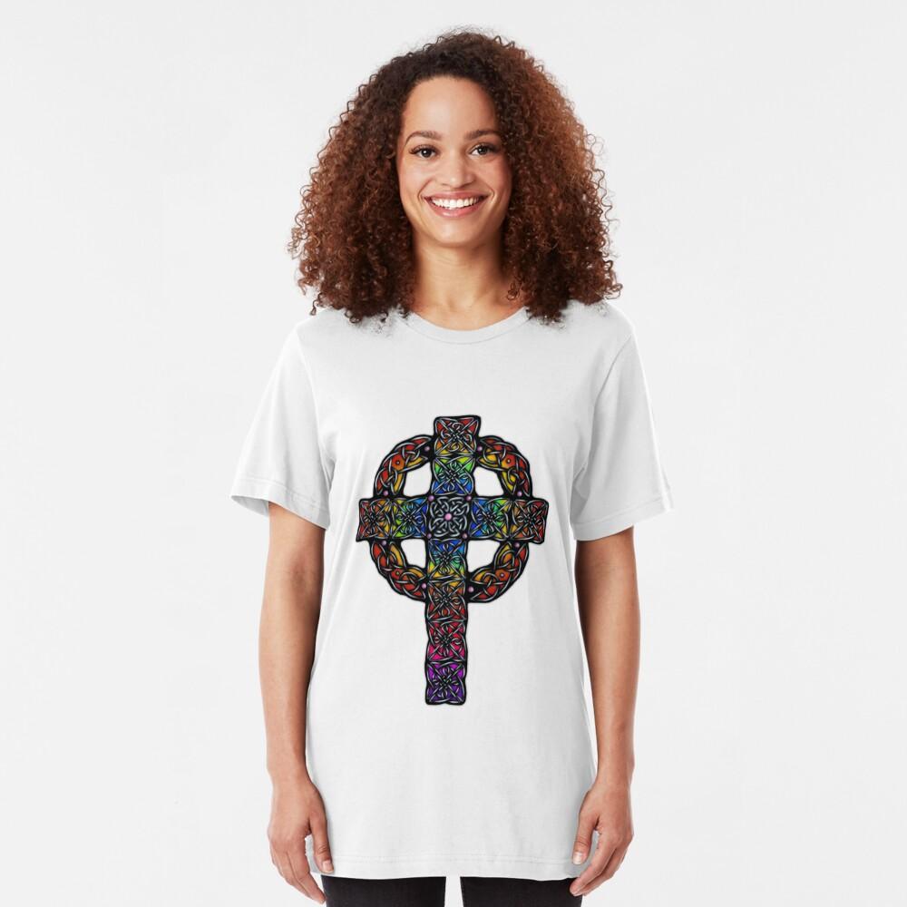 Rainbow Celtic Cross Slim Fit T-Shirt