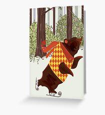 Skating in the Woods vintage illustration. Greeting Card
