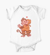 Two cute monkeys kissing.  Kids Clothes