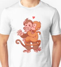 Two cute monkeys kissing.  Unisex T-Shirt