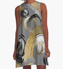 Rough Gold Rings Black and White Circles A-Line Dress