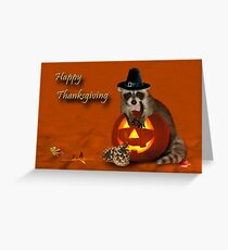 Thanksgiving Pilgrim Raccoon Greeting Card