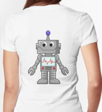 ROBOT, Cartoon, Smiley, Robotics, Toon, Womens Fitted T-Shirt