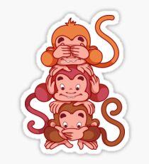 Three wise monkeys.  Sticker
