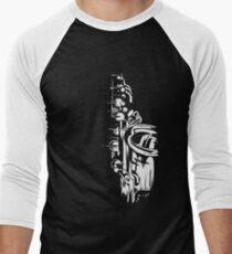 Saxophone Keywork Painting - white on black Men's Baseball ¾ T-Shirt
