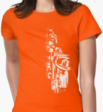 Saxophone Keywork - White on Orange Womens Fitted T-Shirt