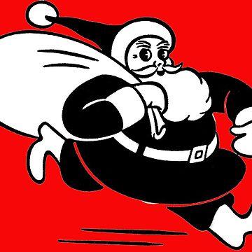 Retro Vintage Christmas Running Santa  by hiway9