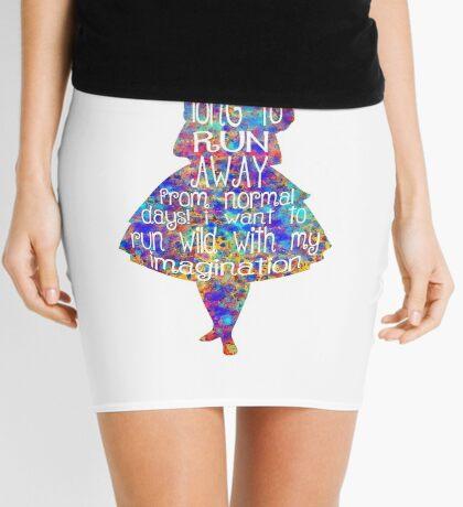 Cita de Alicia en el país de las maravillas - Acuarela colorida Minifalda